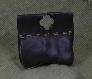 Rear of girdle pouch, showing black dye.